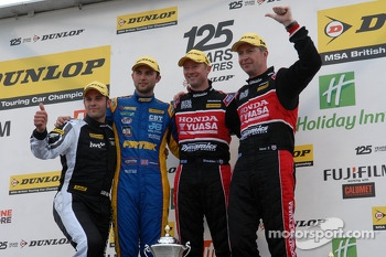Round 9 podium 1st Gordon Shedden, 2nd Matt Neal, 3rd Andrew Jordan and JST winner Lea Wood