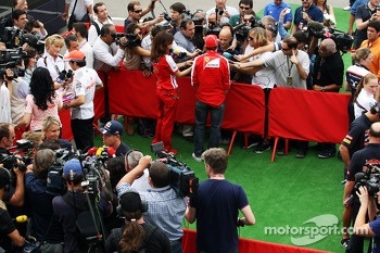 (L to R): Sergio Perez, McLaren; Sebastian Vettel, Red Bull Racing; Fernando Alonso, Ferrari in the media area