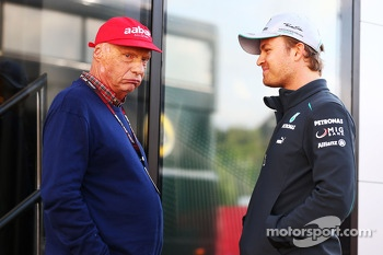 (L to R): Niki Lauda, Mercedes Non-Executive Chairman with Nico Rosberg, Mercedes AMG F1