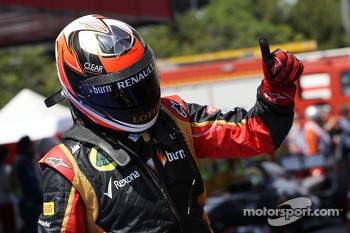 Kimi Raikkonen, Lotus F1 Team celebrates his second position in parc ferme