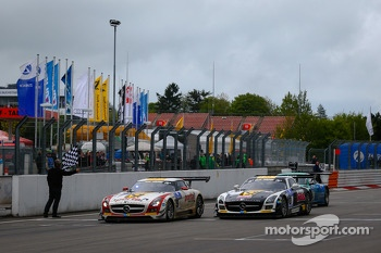 #9 Black Falcon Mercedes-Benz SLS AMG GT3 (SP9): Bernd Schneider, Jeroen Bleekemolen, Sean Edwards, Nicki Thiim takes the checkered flag with #10 Black Falcon Mercedes-Benz SLS AMG GT3 (SP9): Andrii Lebed, Andreas Simonsen, Dennis Rostek, Harald Proczyk