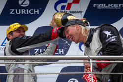 Podium: Nicki Thiim gets a champagne shower
