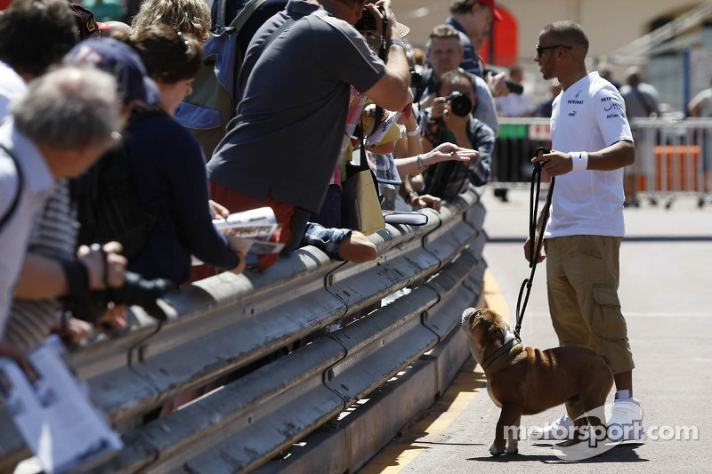 Lewis Hamilton, Mercedes AMG F1, with his dog Roscoe