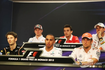 The FIA Press Conference, Nico Hulkenberg, Sauber; Jules Bianchi, Marussia F1 Team; Adrian Sutil, Sahara Force India F1; Romain Grosjean, Lotus F1 Team; Lewis Hamilton, Mercedes AMG F1; Jenson Button, McLaren