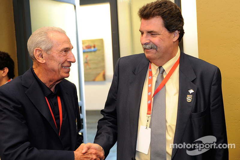 NASCAR Hall of Famer Ned Jarrett talks with NASCAR President Mike Helton