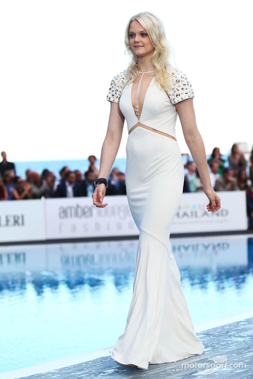 Emilia Pikkarainen, Swimmer and girlfriend of Valtteri Bottas, Williams, at the Amber Lounge Fashion Show