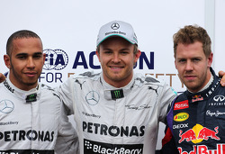 Lewis Hamilton, Mercedes Grand Prix, Nico Rosberg, Mercedes GP and Sebastian Vettel, Red Bull Racing  25