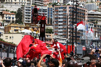 The Ferrari F138 of Felipe Massa, Ferrari is recovered back to the pits on the back of a truck