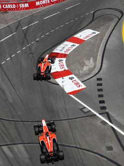 Max Chilton, Marussia F1 Team MR02 leads Jules Bianchi, Marussia F1 Team MR02