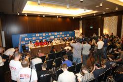 Press conference, James Thompson, Lada Granta, LADA Sport Lukoil, Mikhail Kozlovskiy, LADA Granta, LADA Sport Lukoil, Robert Huff, SEAT Leon WTCC, ALL-INKL.COM Munnich Motorsport and Yvan Muller