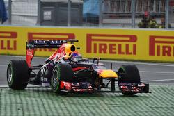 Sebastian Vettel, Red Bull Racing RB9 runs wide at the final chicane