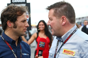 Paul Hembery, Pirelli Motorsport Director with Luca Filippi, Sky Sports F1 TV Presenter