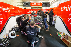 Thiriet by TDS Racing team members at work on their wrecked car