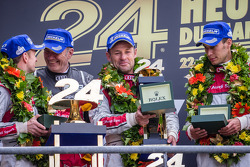 LMP1 podium: Allan McNish, Tom Kristensen and Loic Duval with Dr. Wolfgang Ullrich