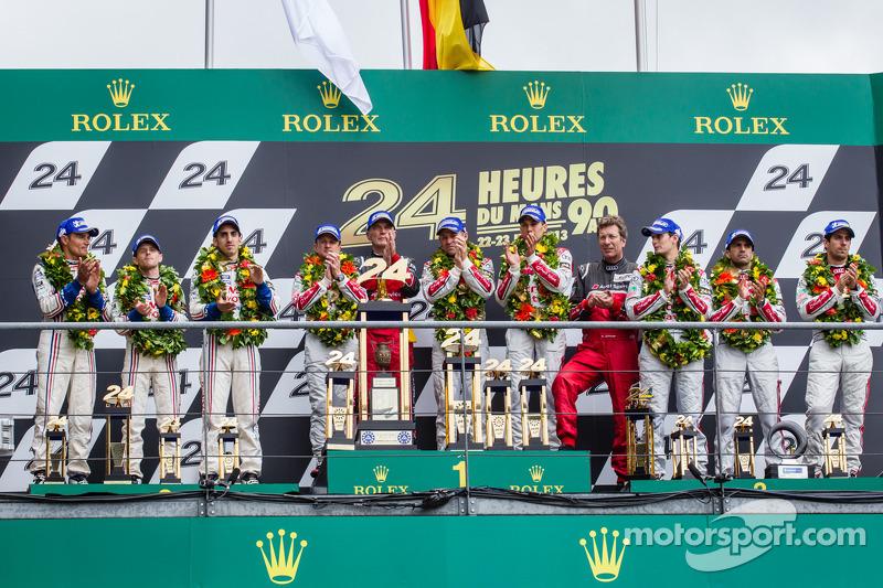 LMP1 podium: class and overall winners Tom Kristensen, Allan McNish, Loic Duval, second place Anthony Davidson, Stéphane Sarrazin, Sébastien Buemi, third place Marc Gene, Oliver Jarvis, Lucas di Grassi