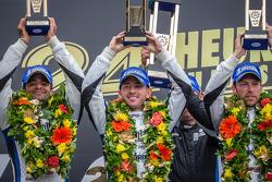 LEMANS: LMP1 podium privateer: class winners Nick Leventis, Jonny Kane, Danny Watts