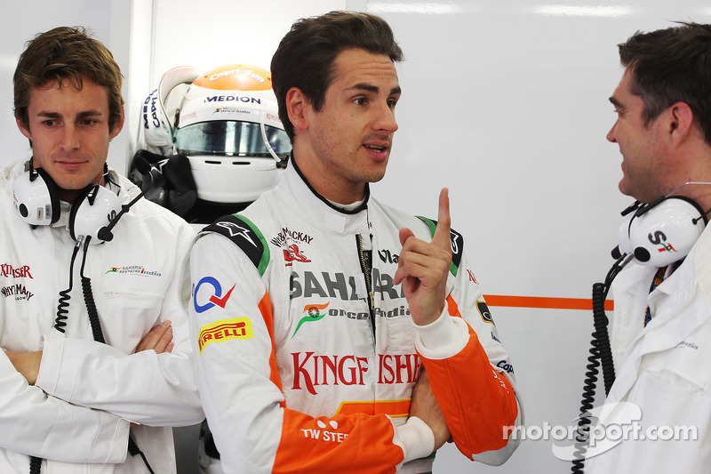 James Rossiter, Sahara Force India F1 Simulator Driver with Adrian Sutil, Sahara Force India F1 and Bradley Joyce, Sahara Force India F1 Race Engineer