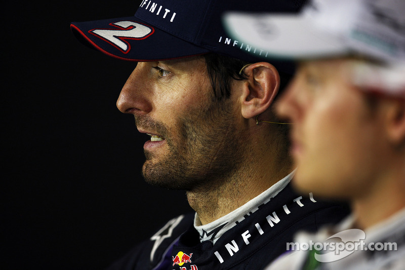 Mark Webber Red Bull Racing and Nico Rosberg Mercedes AMG F1 in the FIA Press Conference
