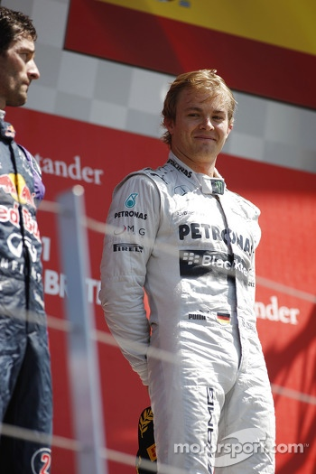 Race winner Nico Rosberg Mercedes AMG F1 on the podium