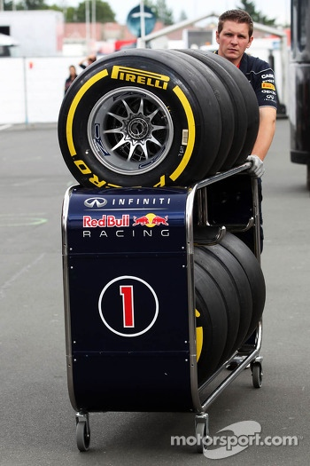 Pirelli tyres pushed by a Red Bull Racing mechanic
