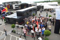 (L to R): Adrian Sutil, Sahara Force India F1; Sebastian Vettel, Red Bull Racing; Nico Hulkenberg, Sauber and Nico Rosberg, Mercedes AMG F1 with the media