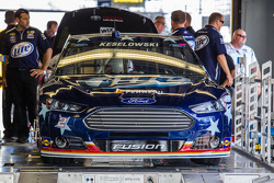 Car of Brad Keselowski, Penske Racing Ford at technical inspection