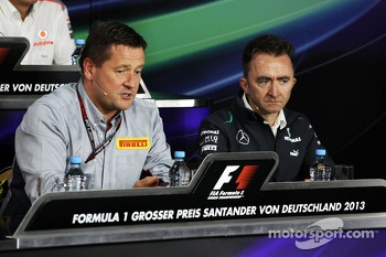 (L to R): Paul Hembery, Pirelli Motorsport Director and Paddy Lowe, Mercedes AMG F1 Executive Director, in the FIA Press Conference