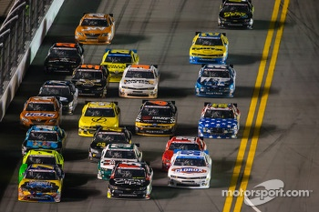 Regan Smith, Brad Sweet and Kyle Larson go three-wide