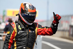 Kimi Raikkonen, Lotus F1 Team celebrates his second position in parc ferme