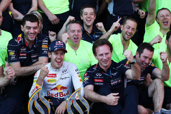 Race winner Sebastian Vettel, Red Bull Racing celebrates with Christian Horner, Red Bull Racing Team Principal and the team