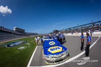 Car of Martin Truex Jr., Michael Waltrip Racing Toyota first on qualifying line