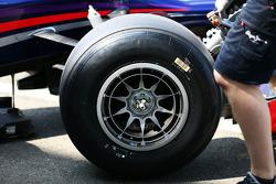 Pirelli tyre on the Red Bull Racing RB9 of Daniel Ricciardo, Red Bull Racing Test Driver