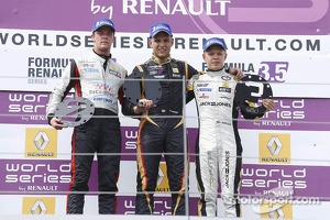 Podium: Second place Nigel Melker, winner Marco Sorensen and third place Kevin Magnussen
