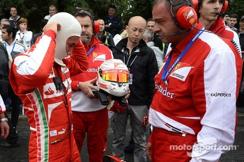 Kamui Kobayashi drives the Ferrari F1 around Moscow
