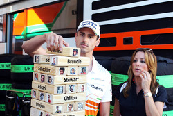 Adrian Sutil, Sahara Force India F1 plays the Sky Sports F1 Horse Power Tower with Natalie Pinkham, Sky Sports Presenter