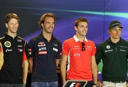 Romain Grosjean, Lotus F1 Team, Jean-Eric Vergne, Scuderia Toro Rosso, Jules Bianchi, Marussia Formula One Team  and Charles Pic, Catheram Formula One Team at the press conference.