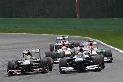 Esteban Gutierrez, Sauber and Pastor Maldonado, Williams battle for position with Adrian Sutil, Sahara Force India, Paul di Resta, Sahara Force India and Nico Hulkenberg, Sauber