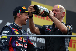 Race winner Sebastian Vettel, Red Bull Racing with Adrian Newey, Red Bull Racing Chief Technical Officer