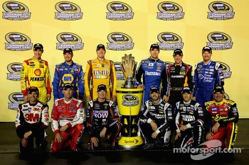 The 2013 Chase drivers: Joey Logano, Martin Truex Jr., Kyle Busch, Carl Edwards, Matt Kenseth, Dale Earnhardt Jr., Greg Biffle, Kevin Harvick, Kurt Busch, Jimmie Johnson, Kasey Kahne, Clint Bowyer