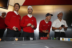Adrien Tambay, Miguel Molina, Mattias Ekström and Filipe Albuquerque at the Audi slotcar race