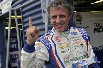 Jason Plato celebrates pole position