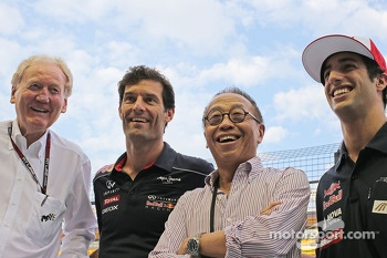 Ron Walker, Chairman of the Australian GP Corporation with Mark Webber, Red Bull Racing; Ong Beng Seng, Owner Hotel Properties Ltd and Singapore Entrepreneur; Daniel Ricciardo, Scuderia Toro Rosso