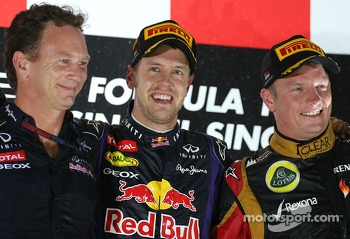 Christian Horner, Red Bull Racing, Sporting Director, Sebastian Vettel, Red Bull Racing and Kimi Raikkonen, Lotus F1 Team