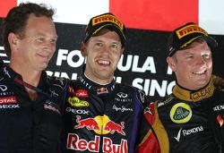 Christian Horner, Red Bull Racing, Sporting Director, Sebastian Vettel, Red Bull Racing and Kimi Raikkonen, Lotus F1 Team