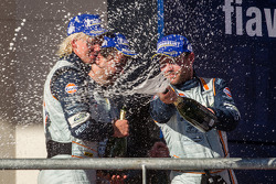 LMGTE Am podium: champagne for Stuart Hall and Jean-Karl Vernay Christoffer Nygaard, Kristian Poulsen and Nicki Thiim