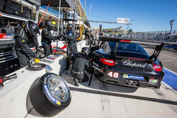 #48 Paul Miller Racing Porsche 911 GT3 RSR: Bryce Miller, Marco Holzer in the pit with trouble