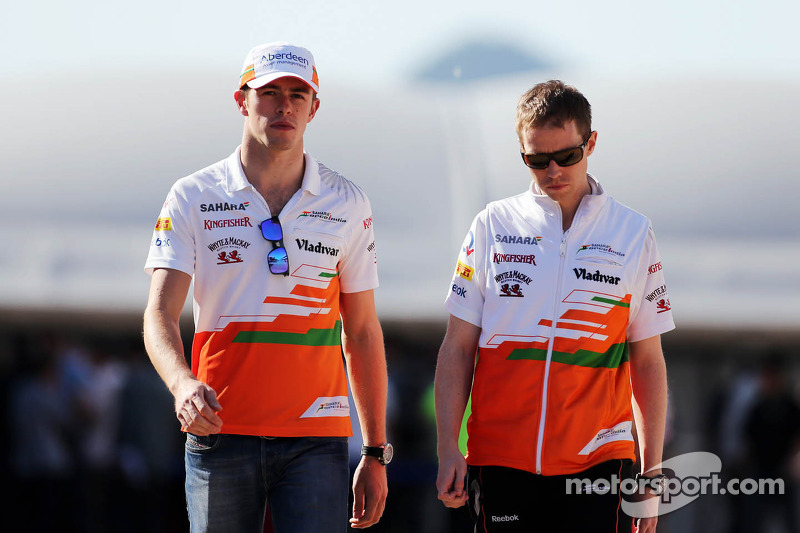(L to R): Paul di Resta, Sahara Force India F1 with Will Hings, Sahara Force India F1 Press Officer