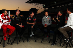 (L to R): Stefano Domenicali, Ferrari General Director with Eric Boullier, Lotus F1 Team Principal, Christian Horner, Red Bull Racing Team Principal, Martin Whitmarsh, McLaren Chief Executive Officer, Martin Brundle, Sky Sports Commentator and Ted Kravitz