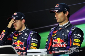 The FIA Press Conference: Sebastian Vettel, Red Bull Racing with team mate Mark Webber, Red Bull Racing