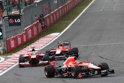 Jules Bianchi, Marussia F1 Team MR02 leads Felipe Massa, Ferrari F138 and Max Chilton, Marussia F1 Team MR02